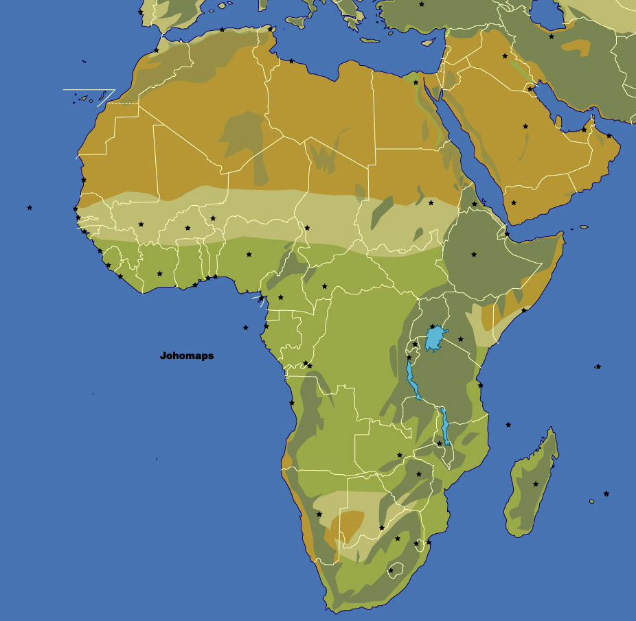 Maps Of Africa JohoMaps - Blank physical map of africa