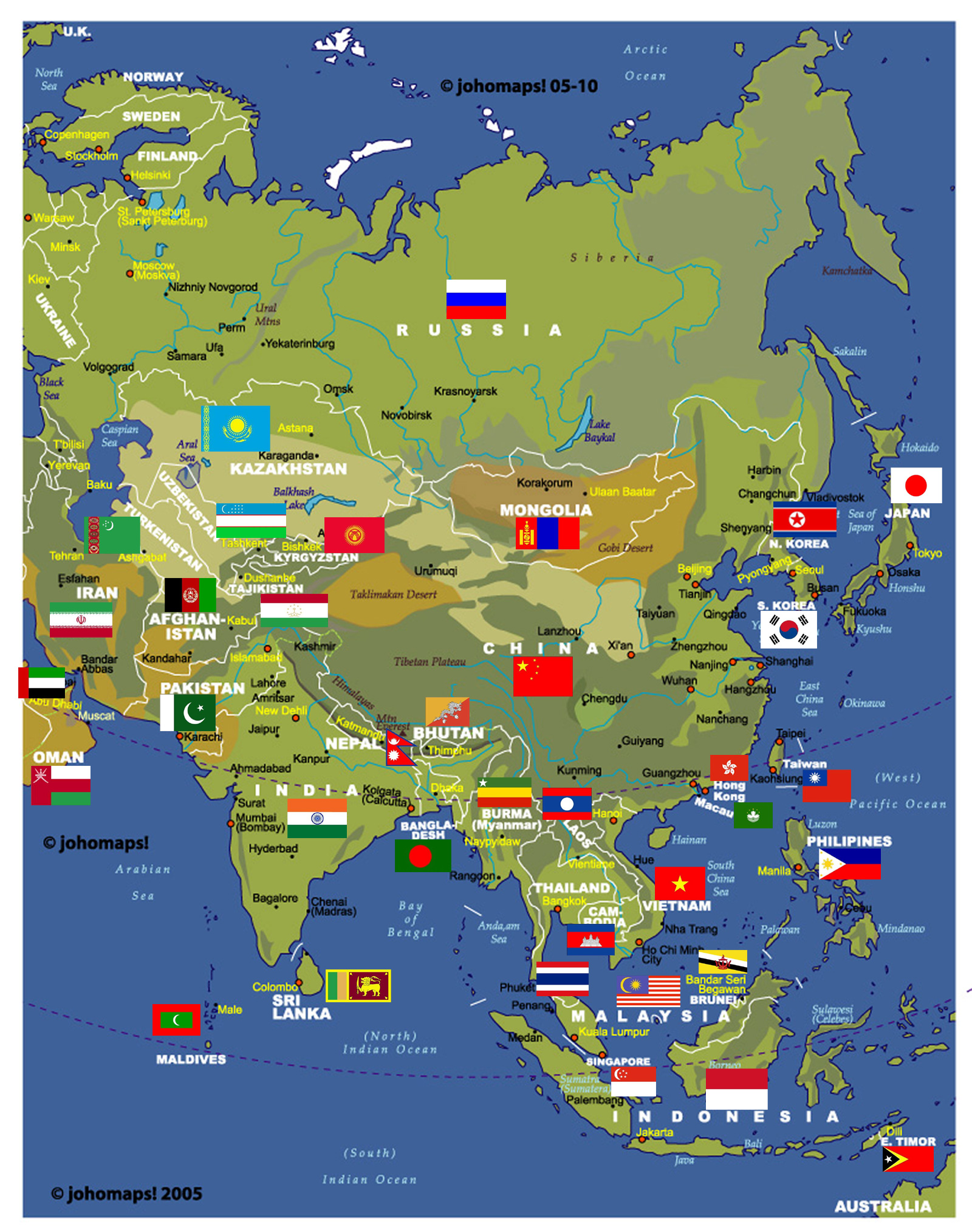 to europe physical and administrative map of asia