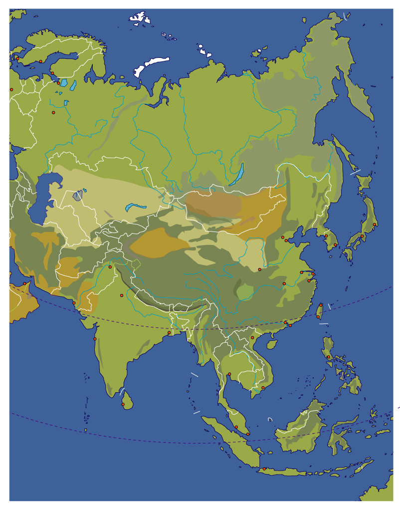 Blank Map Of Asia JohoMaps - Asia blank map
