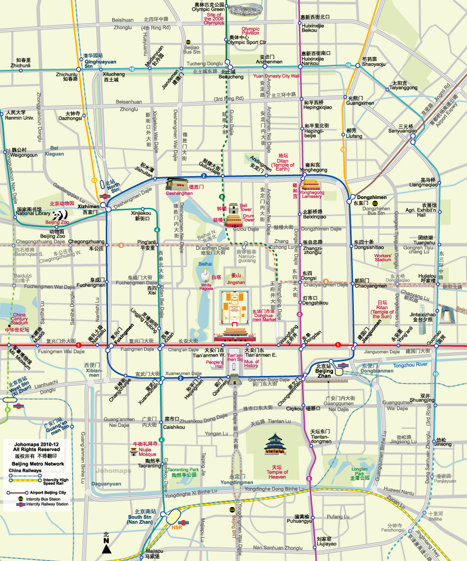 Map of Beijing City Centre JohoMaps