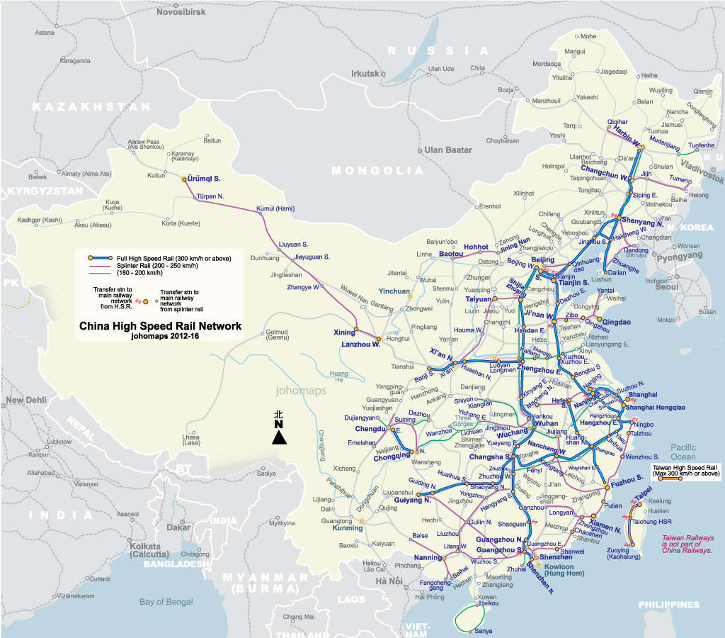 High Speed Rail Map of China Johomaps