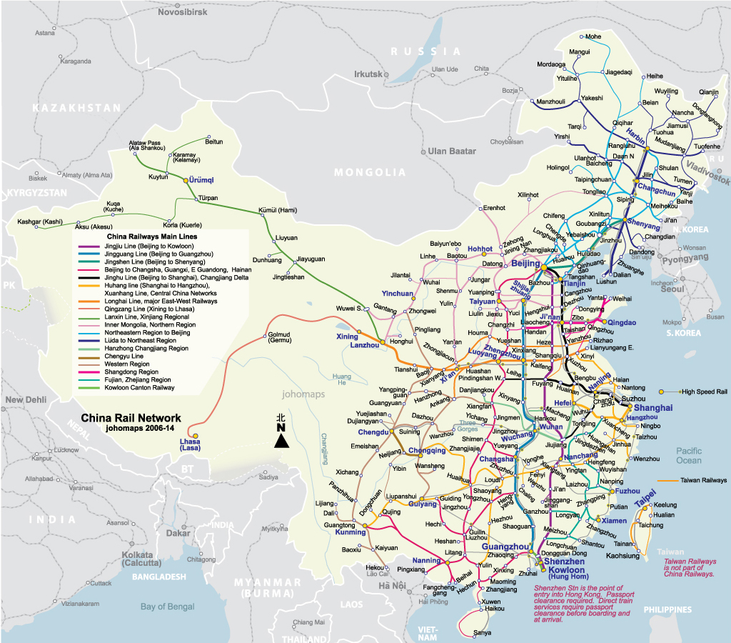 Rail Map of China - Johomaps C Train Map on