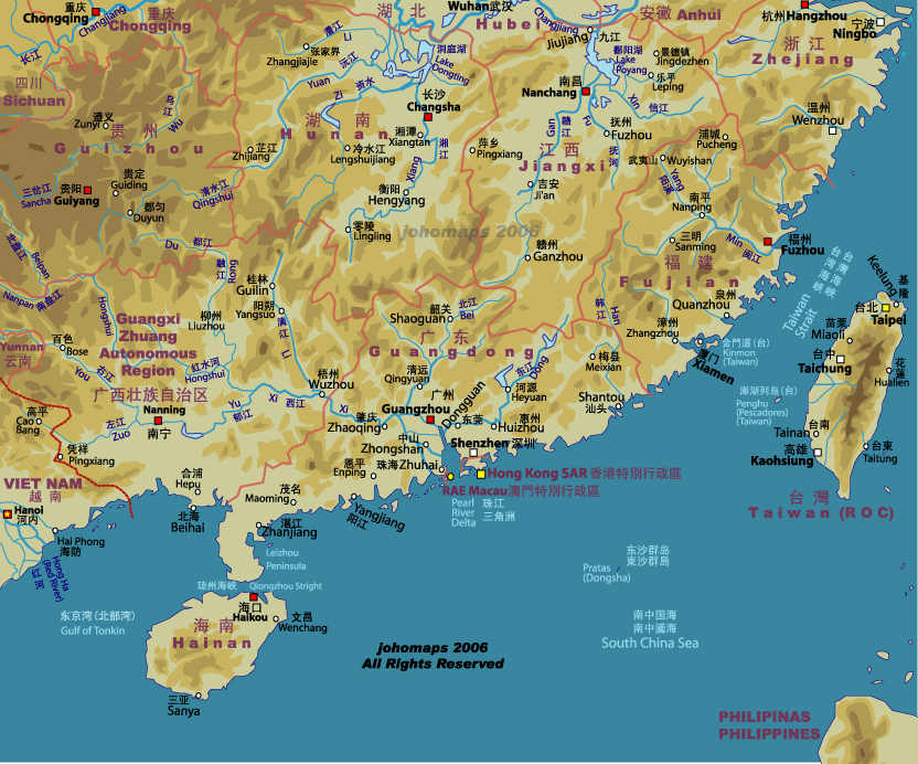 Map Of Southern China Johomaps - Jingdezhen map