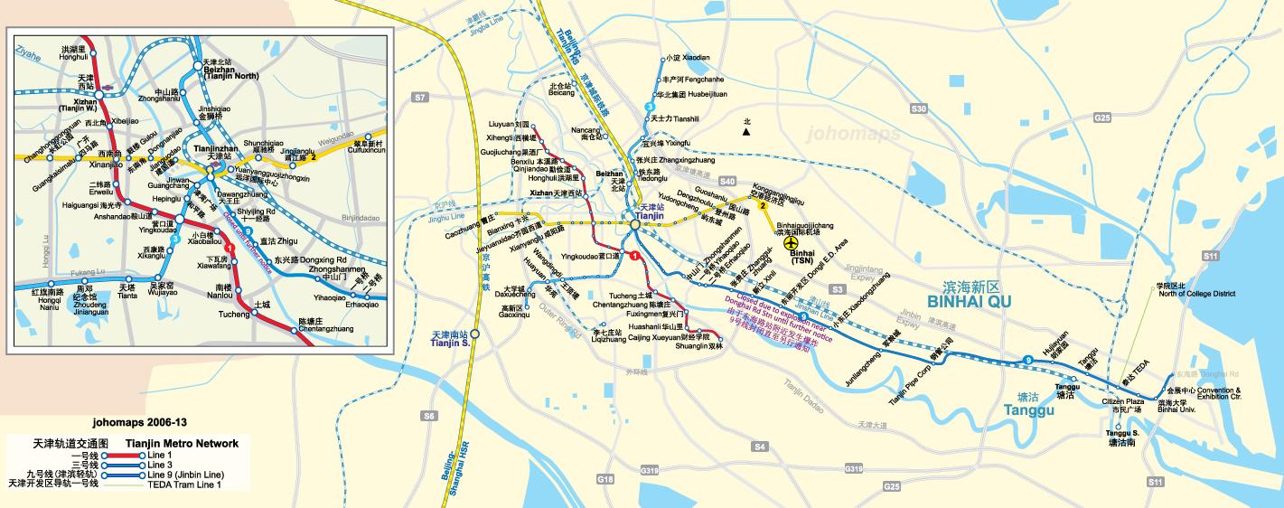 Tianjin Subway Map.Metro Map Of Tianjin Johomaps
