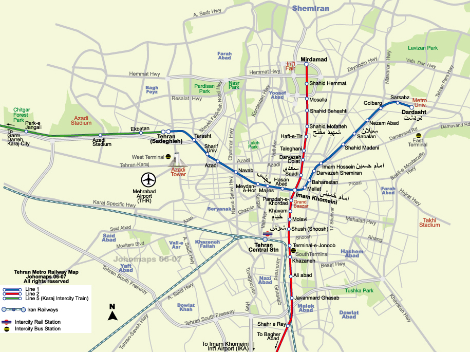 Tehran Subway Map.Metro Map Of Tehran Iran Johomaps