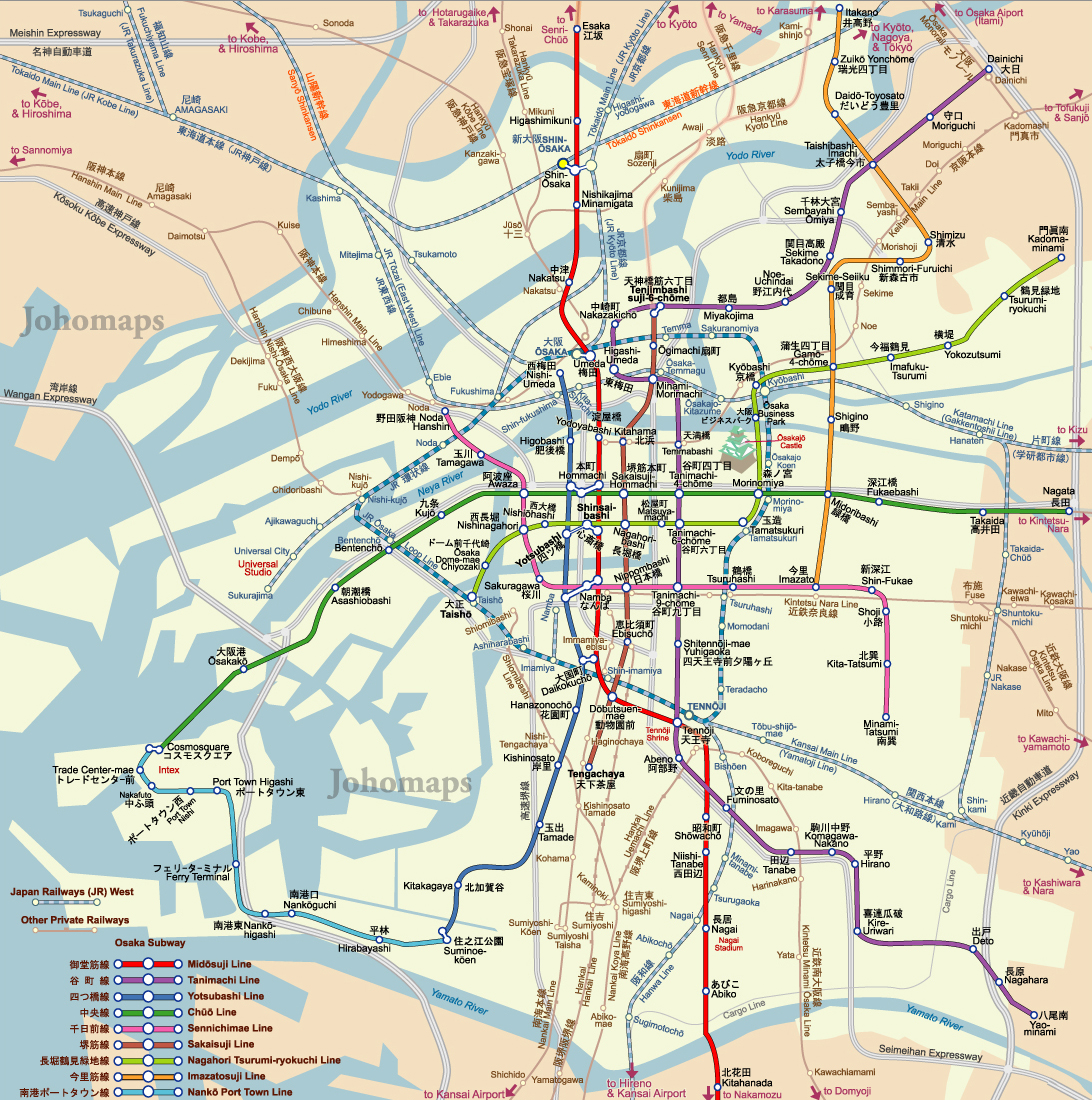 Subway Map Of Osaka JohoMaps - Google maps paris france metro