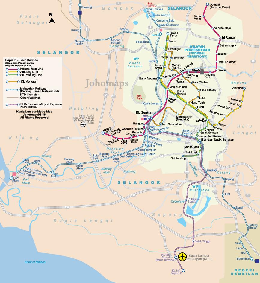 Metro Map Of Kuala Lumpur JohoMaps - kuala lumpur map