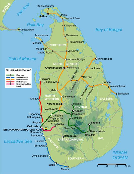 Map of sri lanka johomaps topo and rail map of sri lanka gumiabroncs Image collections
