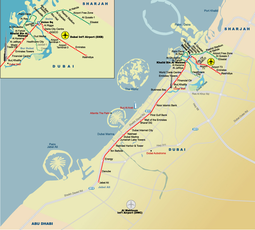 Map Of Asia Dubai.Metro Map Of Dubai Johomaps