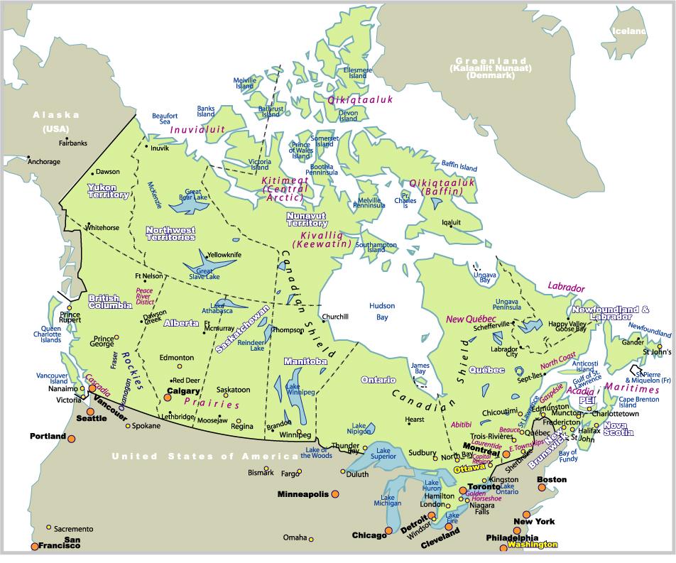加拿大地圖