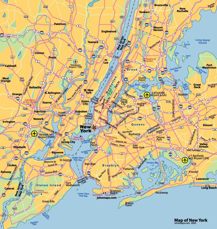 纽约地图,纽约旅游景点地图