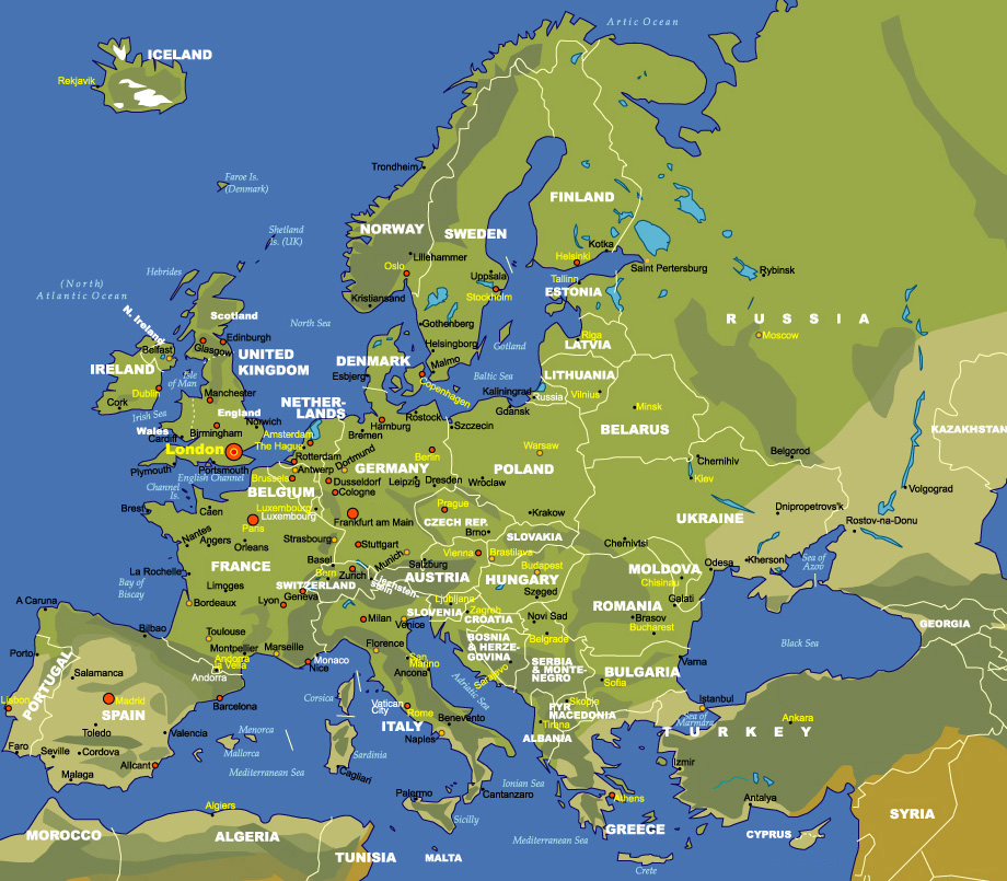 map of europe airport Map of Europe   JohoMaps