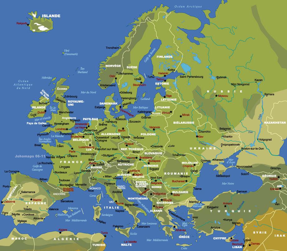 Carte Amerique Europe.Carte D Europe Johomaps