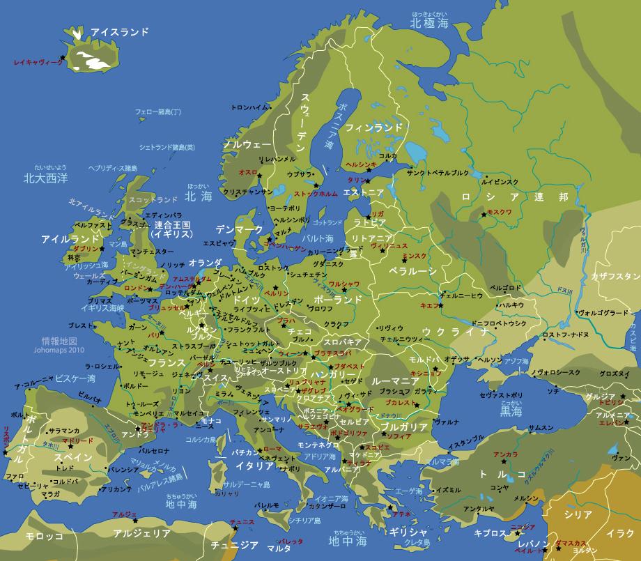 白地図 アフリカ大陸 白地図 : Physical Map