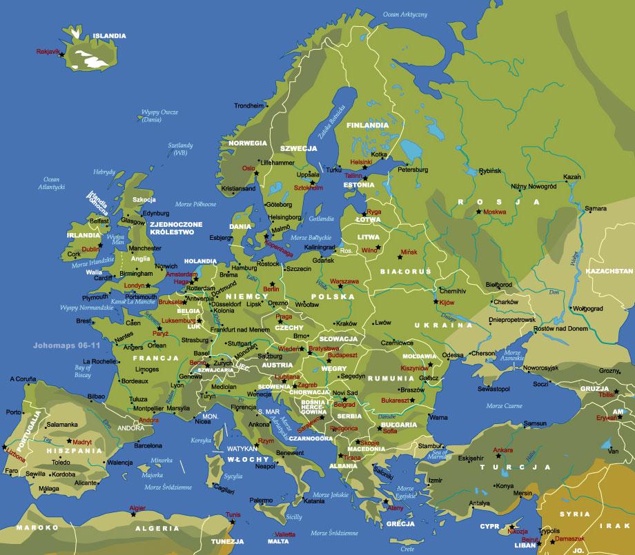 Mapa Europy Johomaps