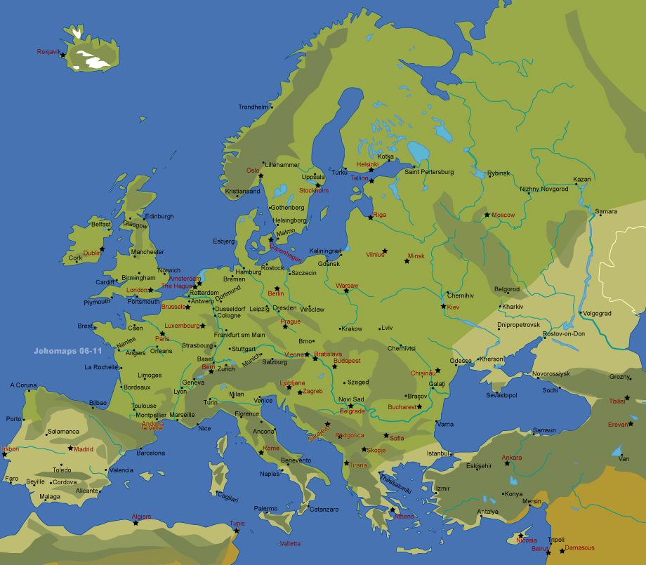Map of European Cities JohoMaps