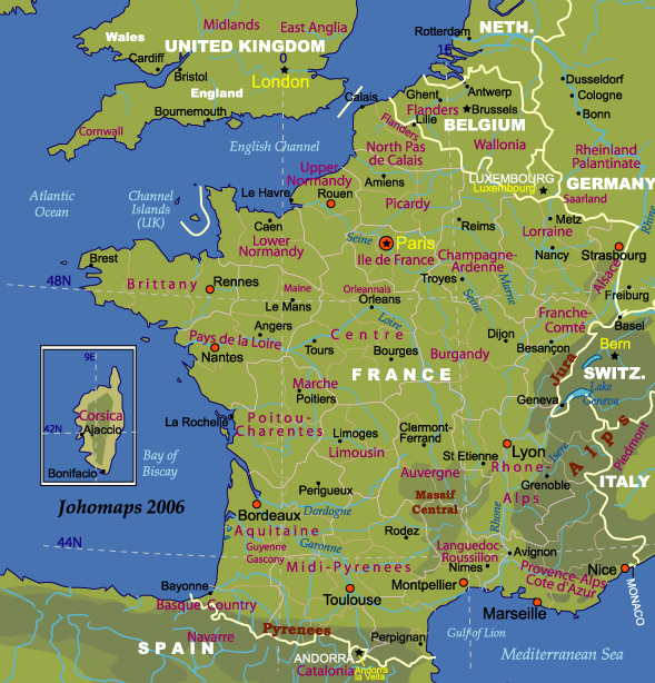Map Of France In English.Map Of France Johomaps