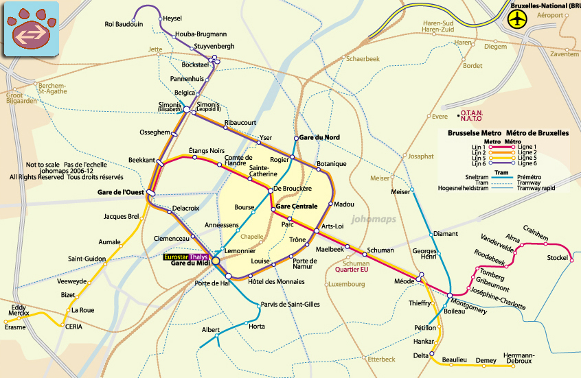Metro Map of Brussels JohoMaps
