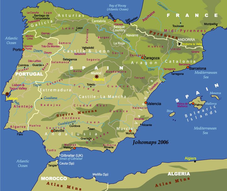 Map Of Spain And Portugal JohoMaps - Map of portugal spain