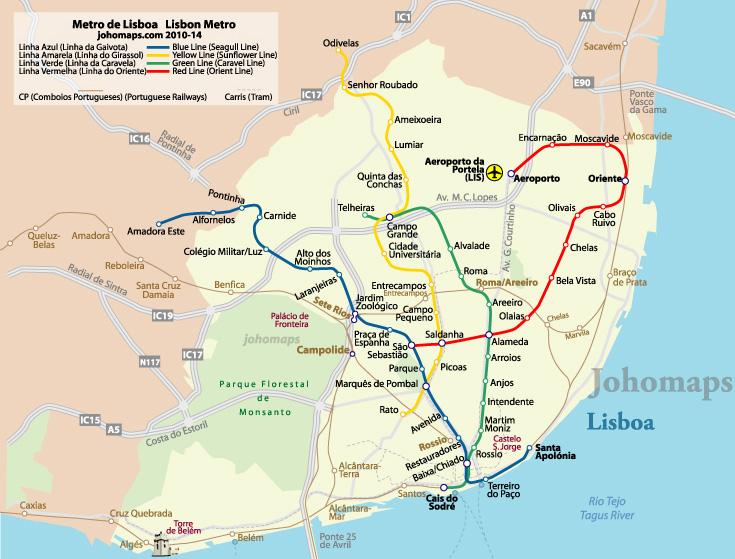 Metro Map Lisbon Portugal.Metro Map Of Lisbon Johomaps