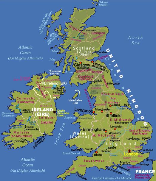 Map Of Uk And Ireland.Maps Of Ireland And The Uk Johomaps