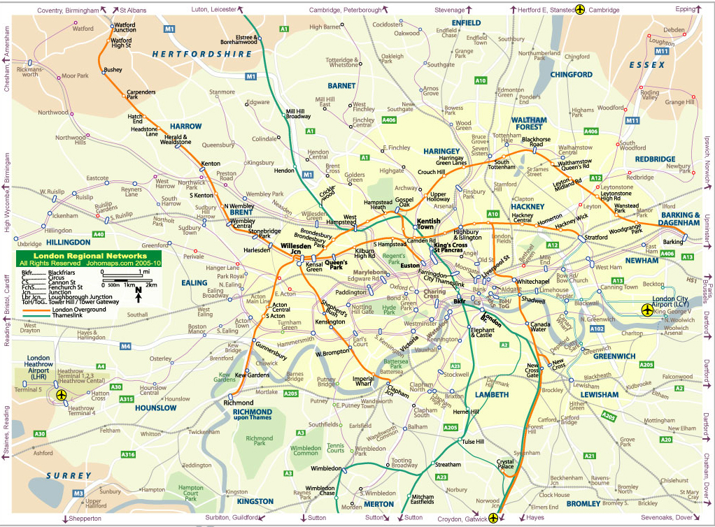 London Urban Rail Map JohoMaps – Map of London Uk