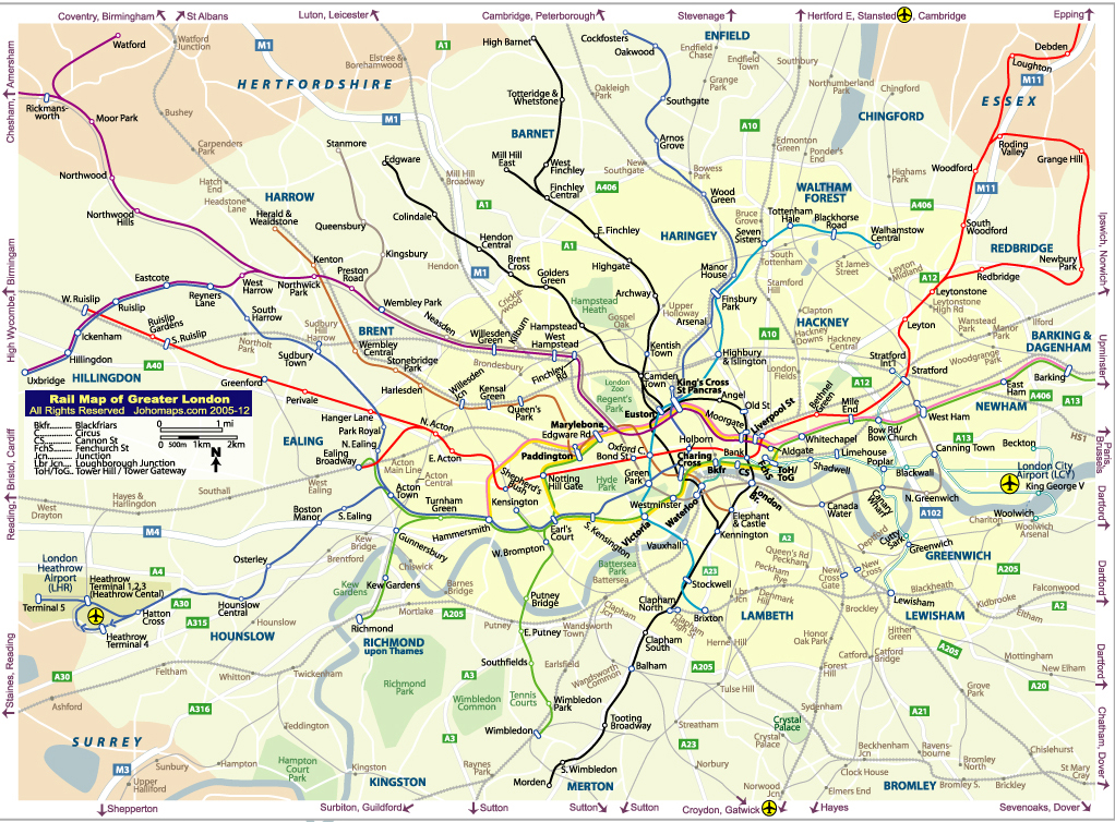 London Urban Rail Map JohoMaps