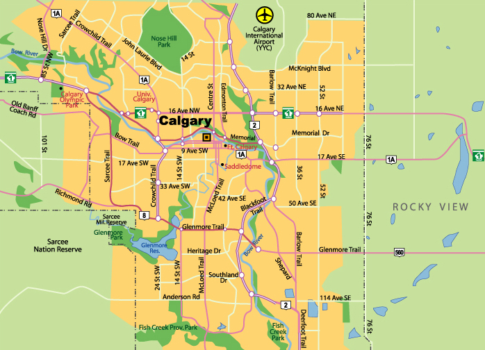City Map Of Calgary Plan De Calgary Citiestips Com