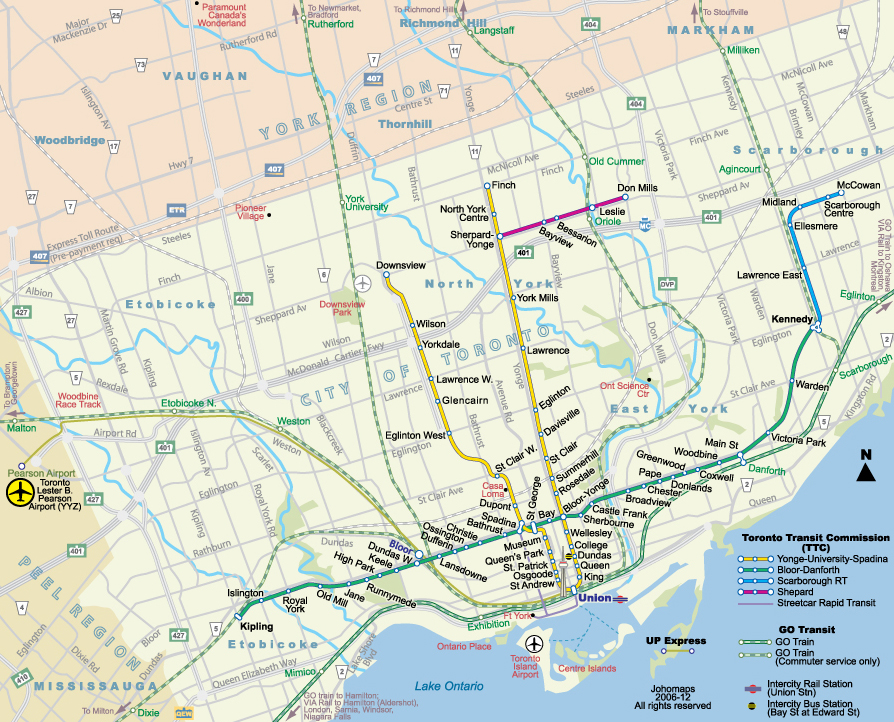 Toronto Map Subway