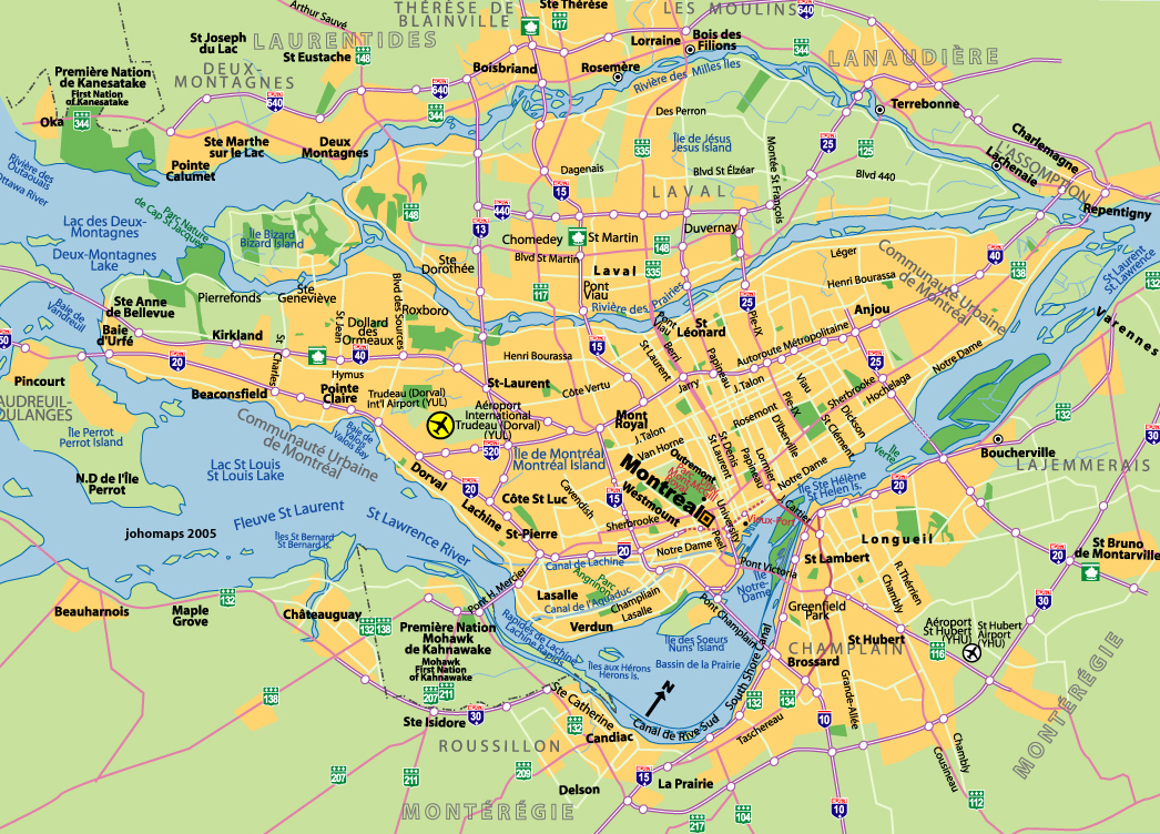plan de montréal  city map of montreal. maps of montreal  johomaps