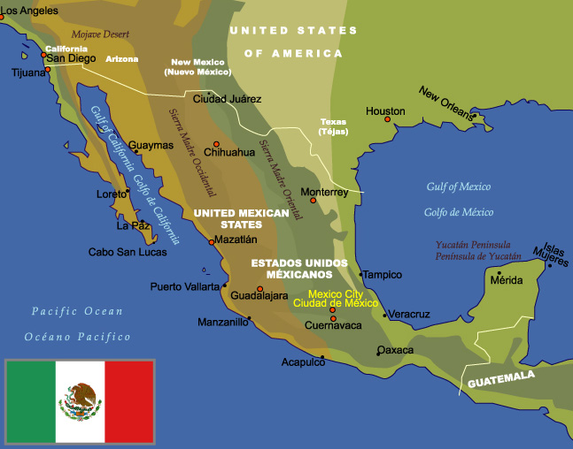 Map Of Mexico JohoMaps - A map of mexico