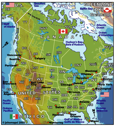 Map Of North America JohoMaps - Canada map major cities