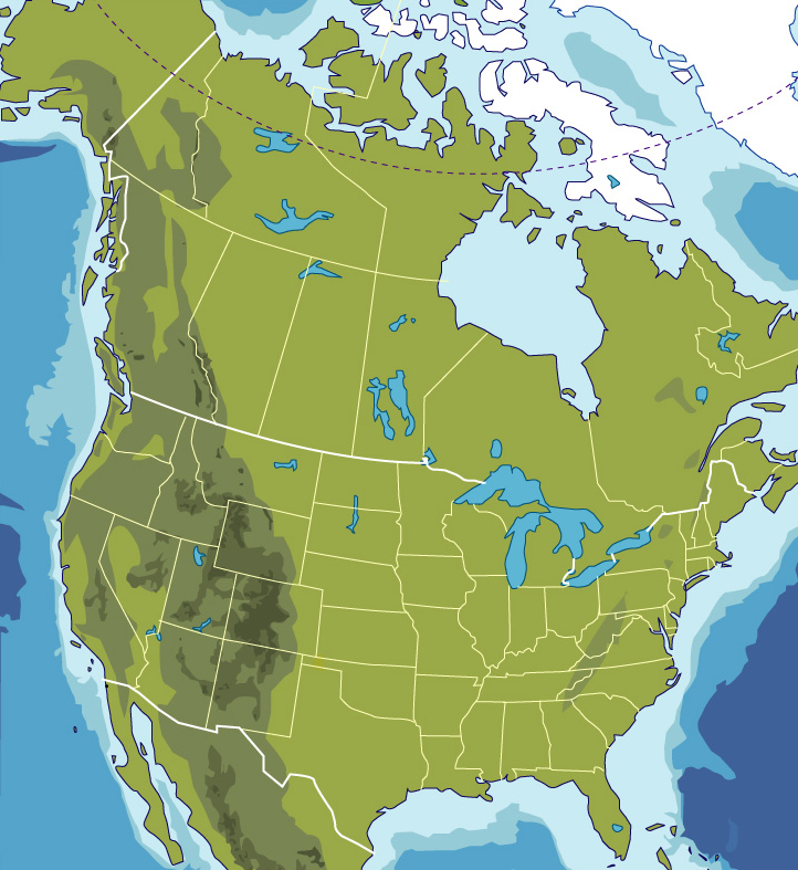 graphic relating to Printable North America Map identify Blank Map of North The us - JohoMaps