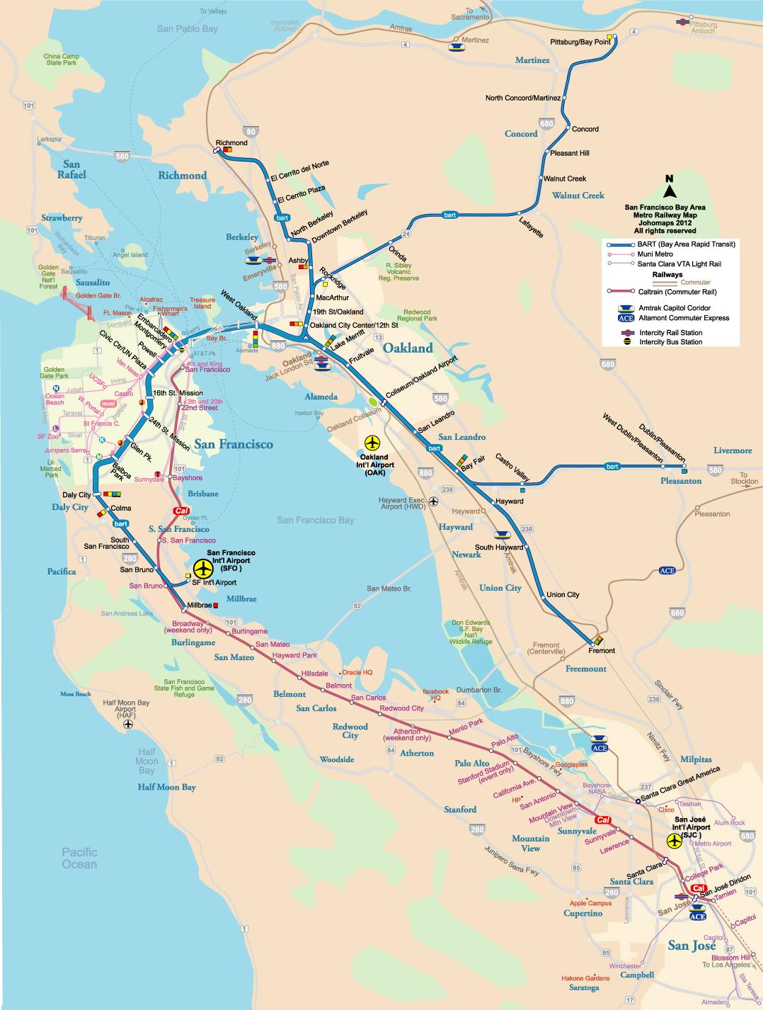 Metro Map Of San Francisco Johomaps