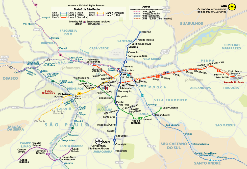 Metro map of so paulo johomaps mapa do metro de so paulo sao paulo metro map gumiabroncs Images