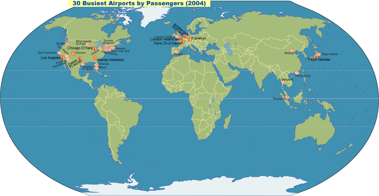 Worlds Busiest Airports JohoMaps - World airports map